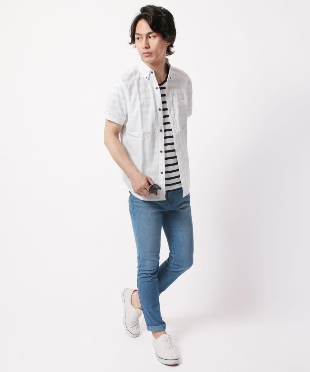 メンズ定番綿麻半袖シャツ