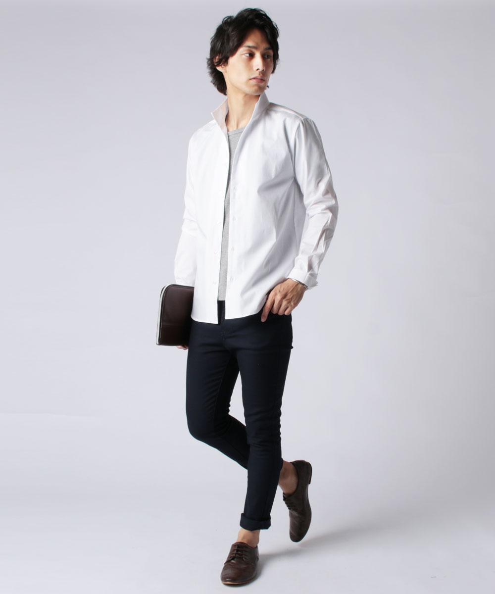 上質感あるシルケットブロード生地と スキッパーデザインの大人キレイめシャツ