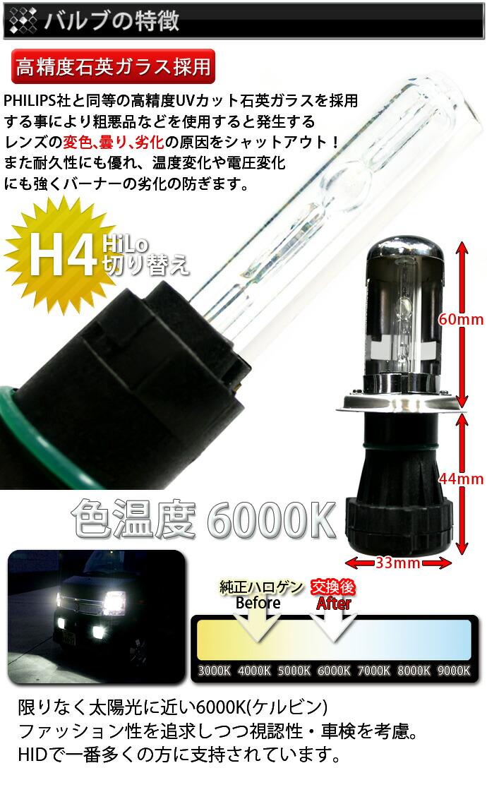 HIDキット:H4 HI/LO切り替え バルブの特徴 色温度比較