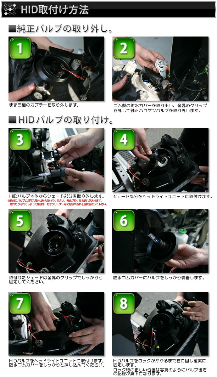 HIDキット:H4 HI/LO切り替え HIDキット取り付け方法 バラストの取り付け方法