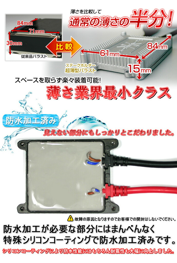HIDキット:H4 HI/LO切り替え バラストの特徴 薄型バラスト防水加工