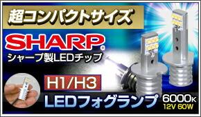 シャープ製コンパクトLEDフォグランプ H1 H3バルブ 6000K