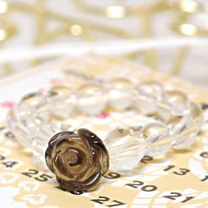 ローズリング(薔薇) スモーキークォーツ<天然石リング>