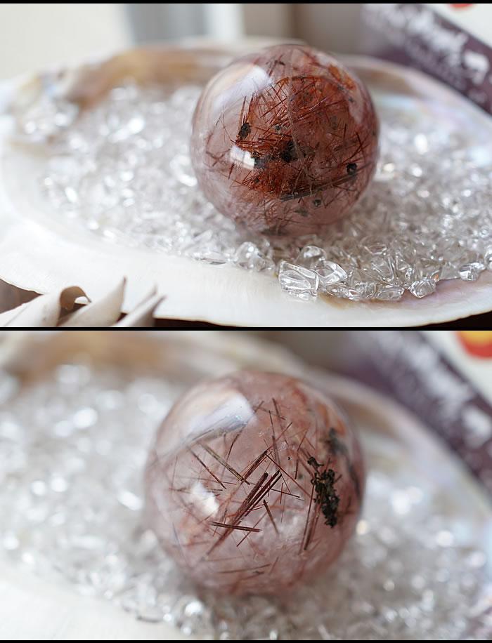 【一点もの】レッドルチルクォーツ 丸玉 スフィア 天然石 パワーストーン ルチルクォーツ 置物 インテリア ルチルクオーツ ルチルレーテッドクォーツ 針入り水晶 金針水晶