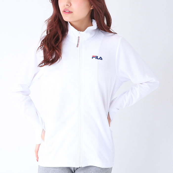 フィラ パーカー 吸水速乾 レディース 長袖 白色 シンプル 無地 UVカット