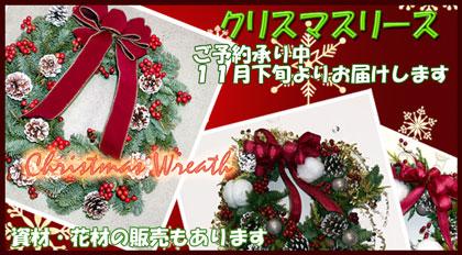 クリスマスリースのご予約賜ります スタジオHiroのフラワーギフト