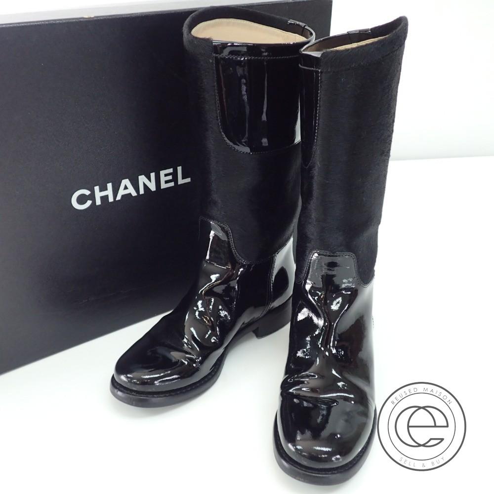 1192109b6ce1 CHANEL / シャネル G28488 黒 サイドココマーク パテントレザー×ハラコ ブーツ35C シューズ