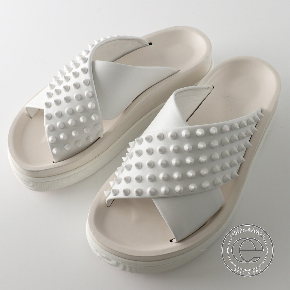 sports shoes 6103a 9d5dd Christian Louboutin クリスチャンルブタン HABIB spikes studs cross flat sandals 36  white Lady's