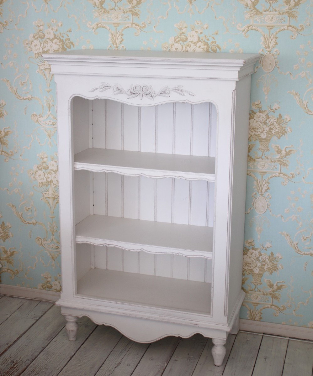 Country Corner Romance Romance Collection 3 Shelf Bookcase Display Racks France White Furniture French Chic Collection Rack Antique 121009