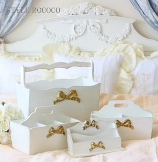 イタリア製 SOLDI フリーボックスS(4仕切り) リモコンラック ホワイト×ゴールドリボン リボンモチーフ