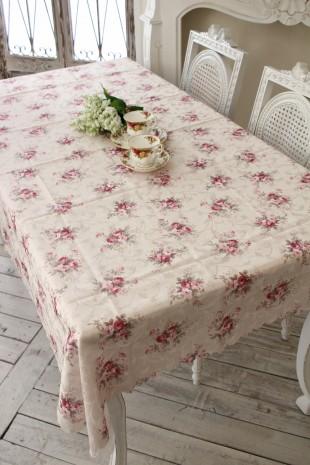 テーブルクロス 長方形 エレガントローズ 撥水テーブルクロス 135×180 薔薇 はっ水 tablecloth 姫系 ジャガード ネコポス便OK