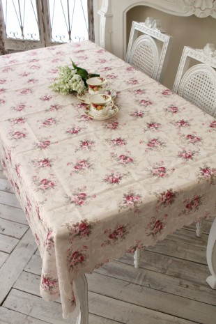 テーブルクロス 135×240 エレガントローズ 撥水 長方形 薔薇 はっ水 マルチクロス ジャガード レターパックOK