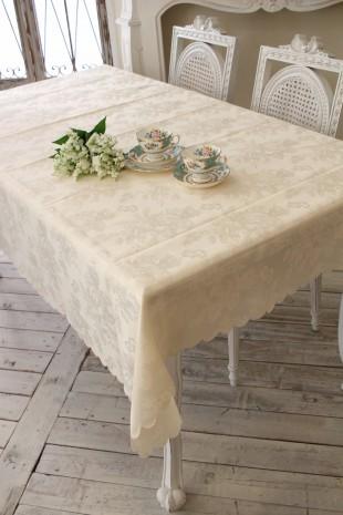 テーブルクロス シャインローズ 撥水 はっ水 薔薇 ジャガード 長方形 135×180 ネコポス便OK