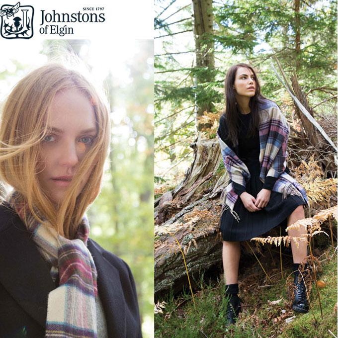 Johnstons ジョンストンズ Dress Gordon Type タータンチェック カシミア マフラー ストール