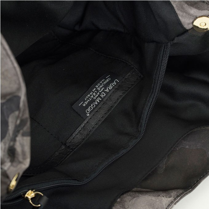 LAURA DI MAGGIO ローラディマジオ リモンタナイロンGlasse×イタリーレザーカモフラージュショルダートート バッグ