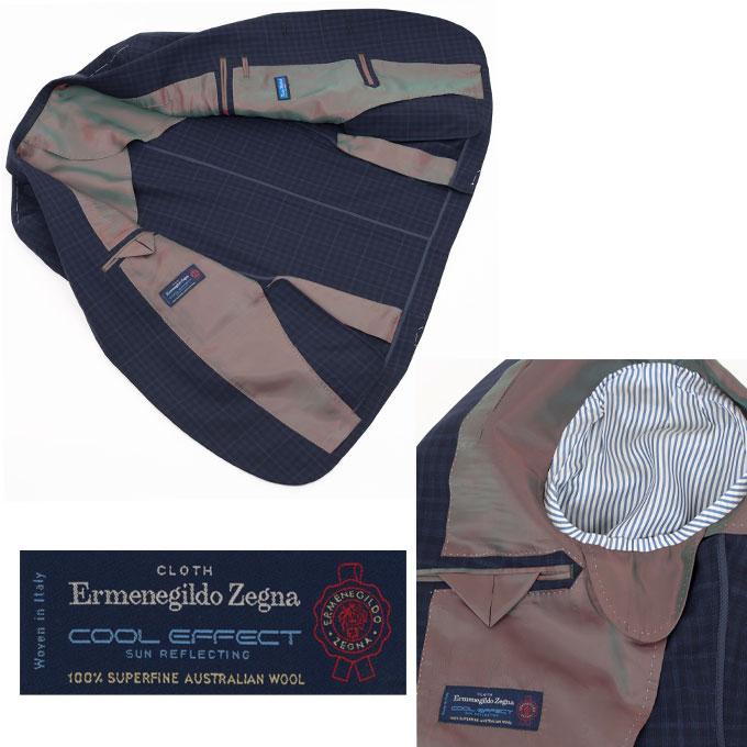 Style Edition スタイルエディション Ermenegildo Zegna エルメネジルド ゼニア COOL EFFECT ネイビー チェック サイドベンツ ジャケット