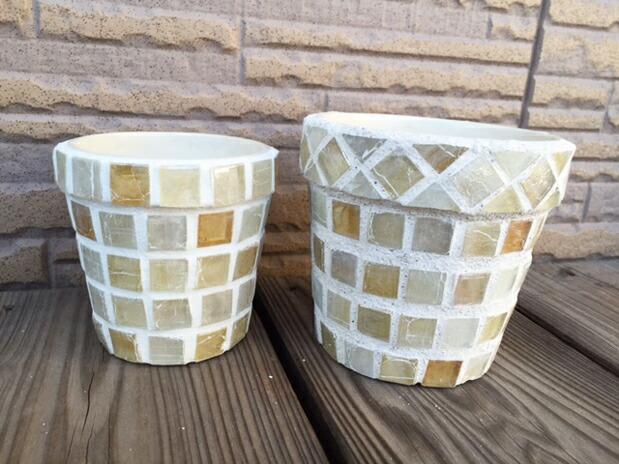 ガラスモザイクの植木鉢DIY