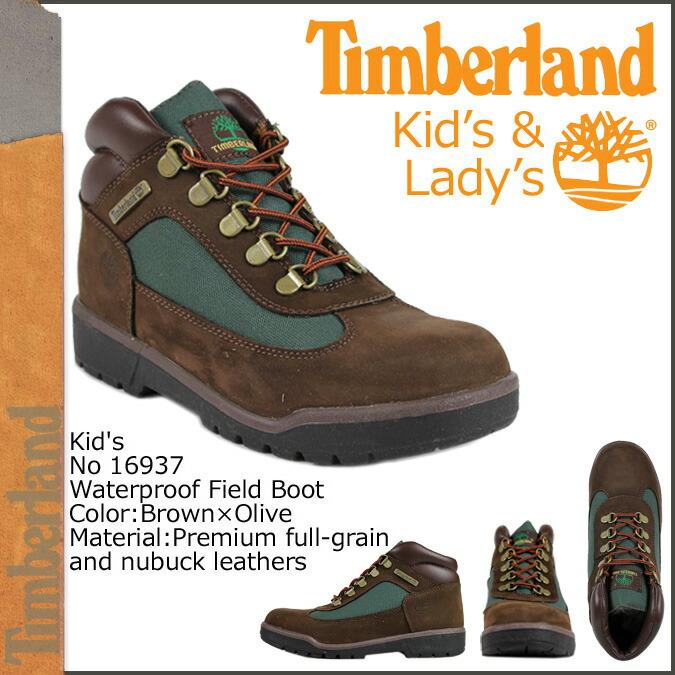 Brown Timberland Junior//Kids  FIELD BOOT 16937 Olive