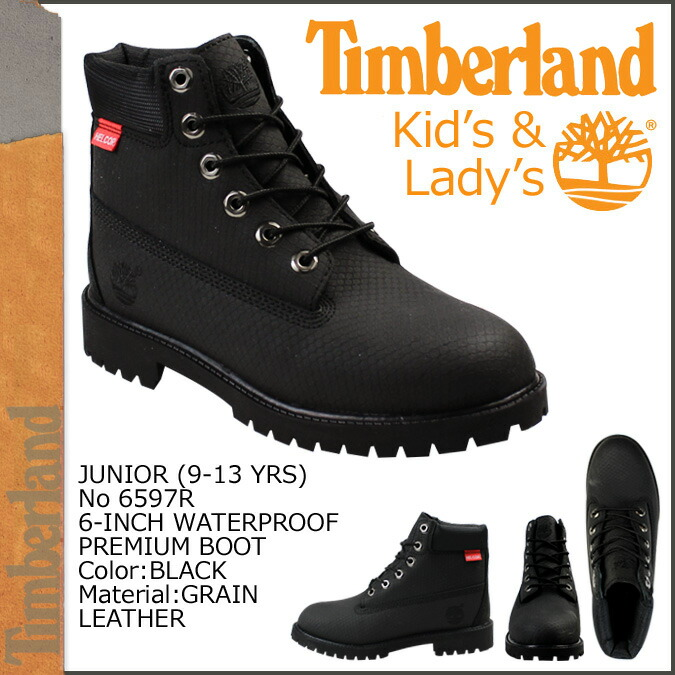 c658c2e7907d 6 inches of Timberland Timberland kids Ladys youths waterproof premium  boots 6597R black JUNIOR