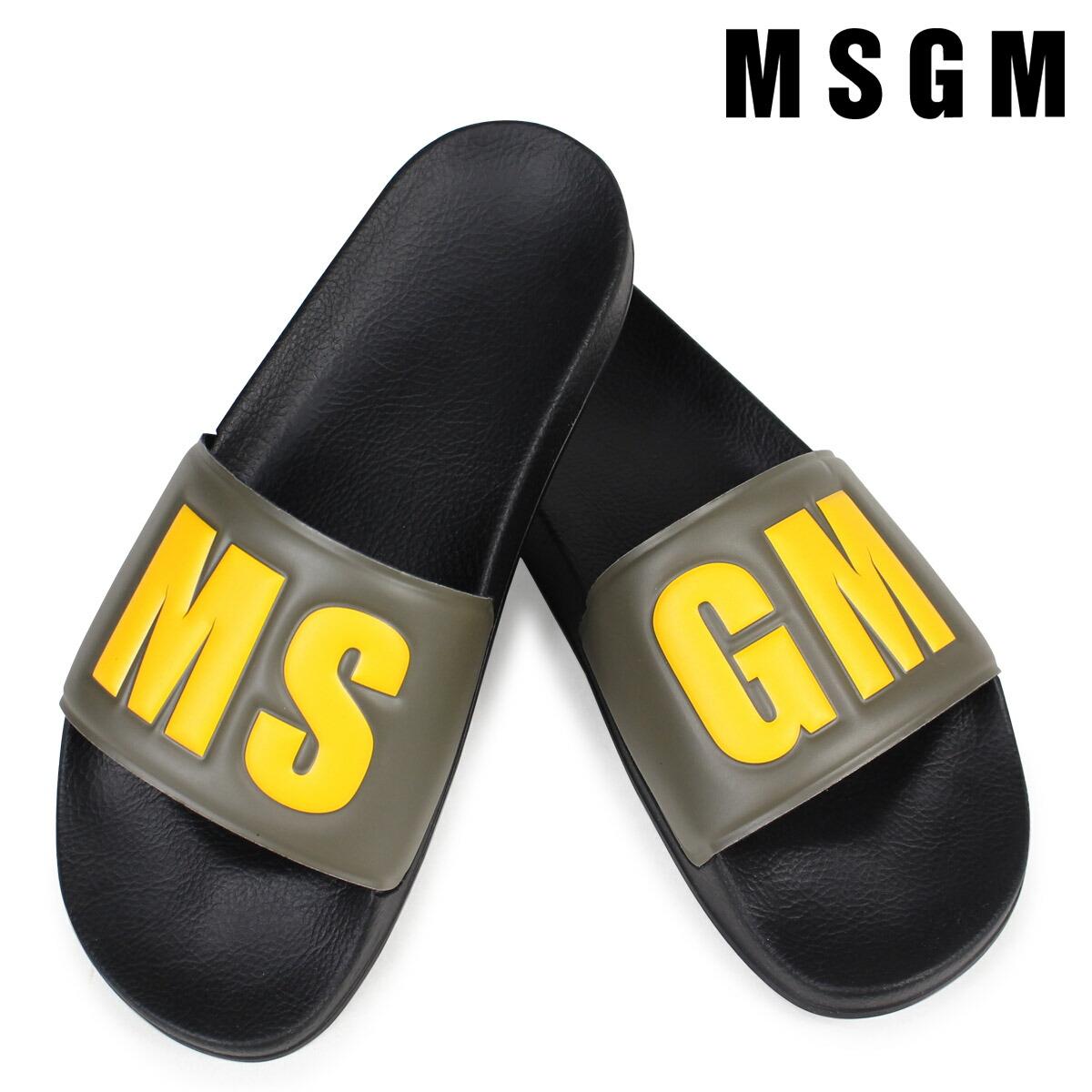 MSGM サンダル メンズ エムエスジーエム シャワーサンダル POOL SLIDE CON LOGO 2440MS100 030 ブラック [2/7 新入荷]