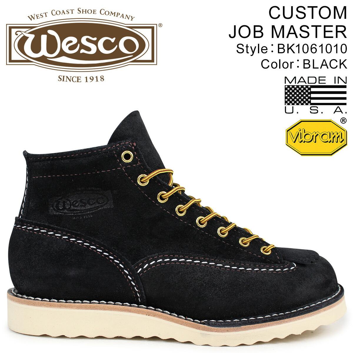 ウエスコ ジョブマスター WESCO ブーツ 6インチ カスタム 6INCH CUSTOM JOB MASTER 2Eワイズ スエード メンズ ブラック BK1061010 ウェスコ [2/1 新入荷]