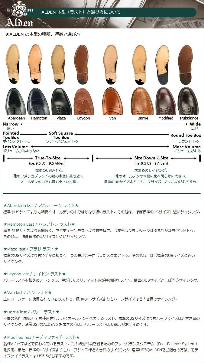 Alden Shoe Size Guide