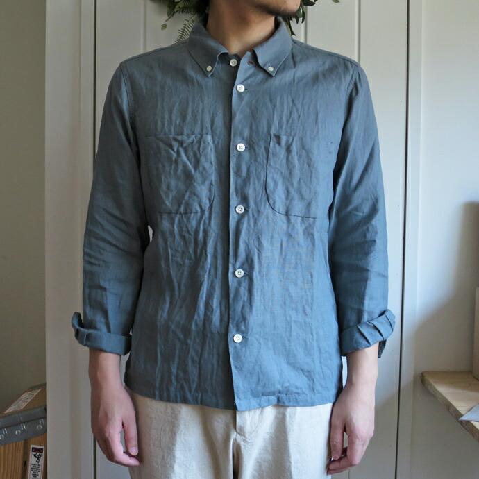 ENDS and MEANS  Linen Grandpa Shirts エンズアンドミーンズ  リネン グランパシャツ