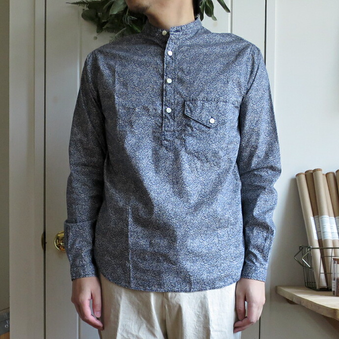 ENDS and MEANS Band Collar Shirts / Flower エンズアンドミーンズ  バンドカラーシャツ フラワー
