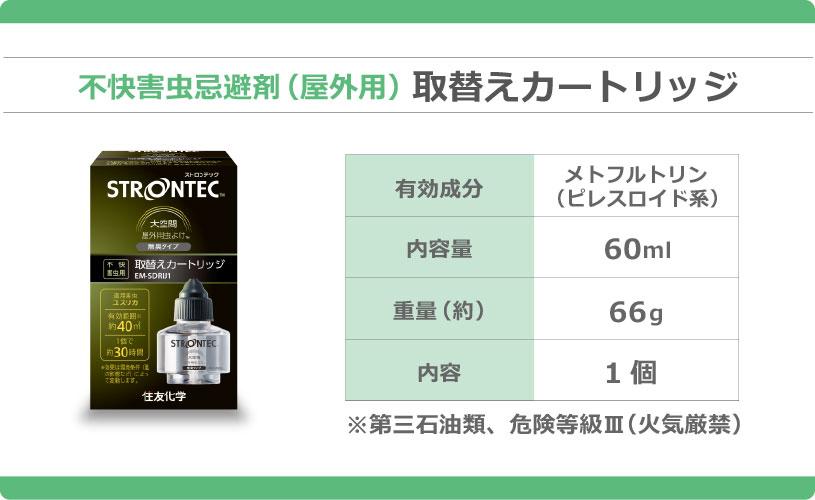 不快害虫忌避剤 取替えカートリッジ 有効成分:メトフルトリン 内容量:60mL 容量:66g