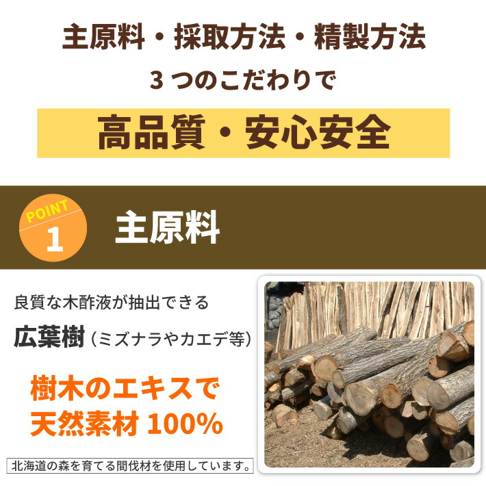 08-主原料・採取方法・製造方法。3つのこだわりで「高品質・安心安全!」主原料は広葉樹。