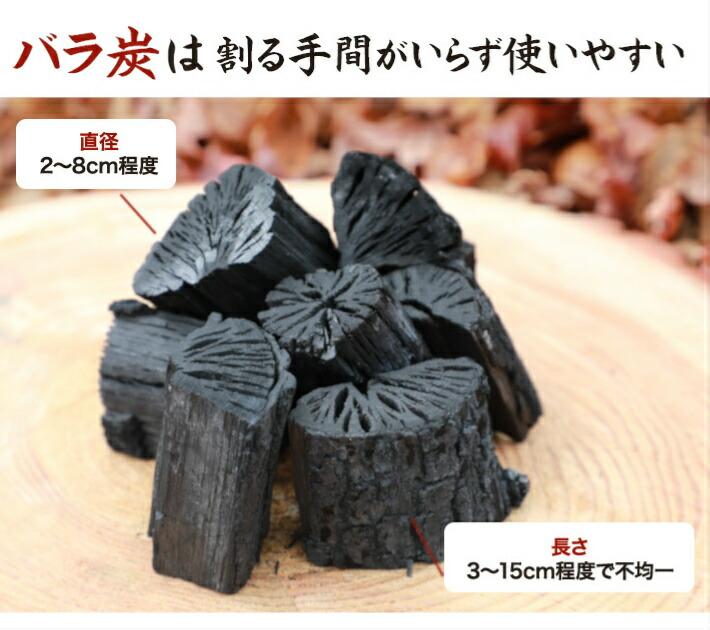 バラ炭は割る手間いらずで使いやすい