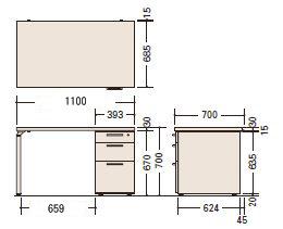 ナイキ(NAIKI)製片袖テーブルWAKE(ウェイク)シリーズWK117Bサイズ