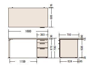 ナイキ(NAIKI)製片袖テーブルWAKE(ウェイク)シリーズWK147Bサイズ