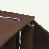 天板配線口と、袖箱裏に設けられた配線扉