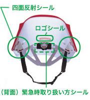 ファンクショナブルステッカー(反射シール)と緊急時取り扱いシール付き