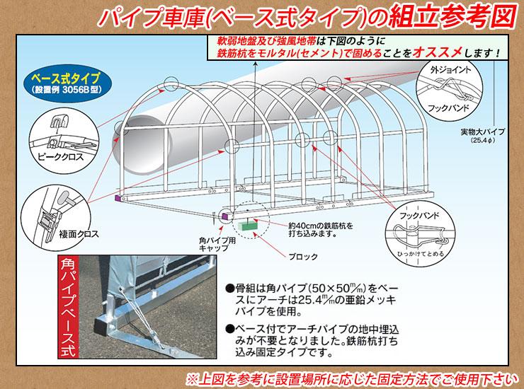 パイプ車庫(ベース式タイプ)の組立参考図!