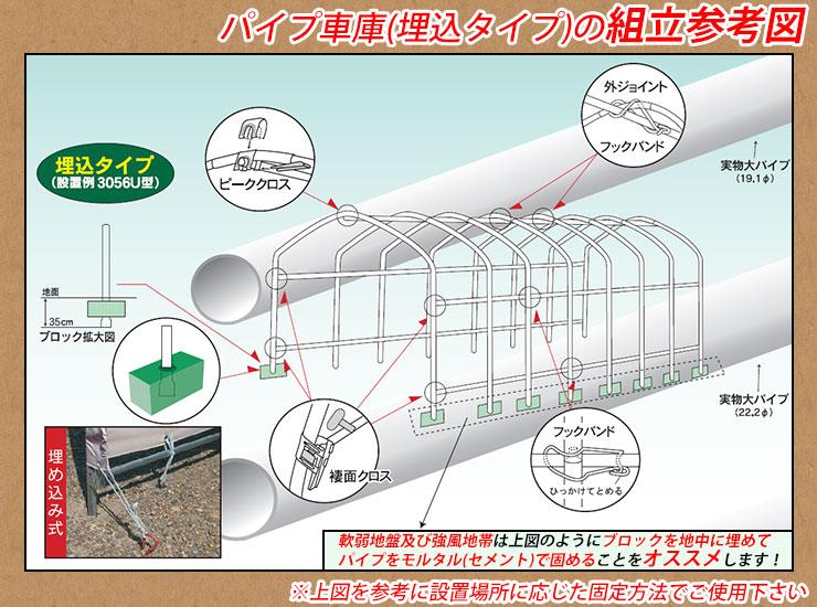 パイプ車庫(埋込タイプ)の組立参考図!