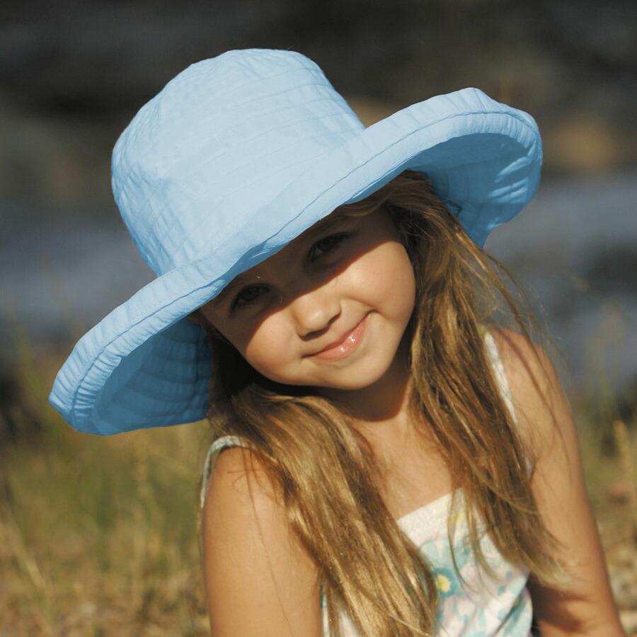 57db7d134cbb1a UVカット 帽子(子供用) - キッズ KIDS ハット つば広 帽子 こども<BR ...