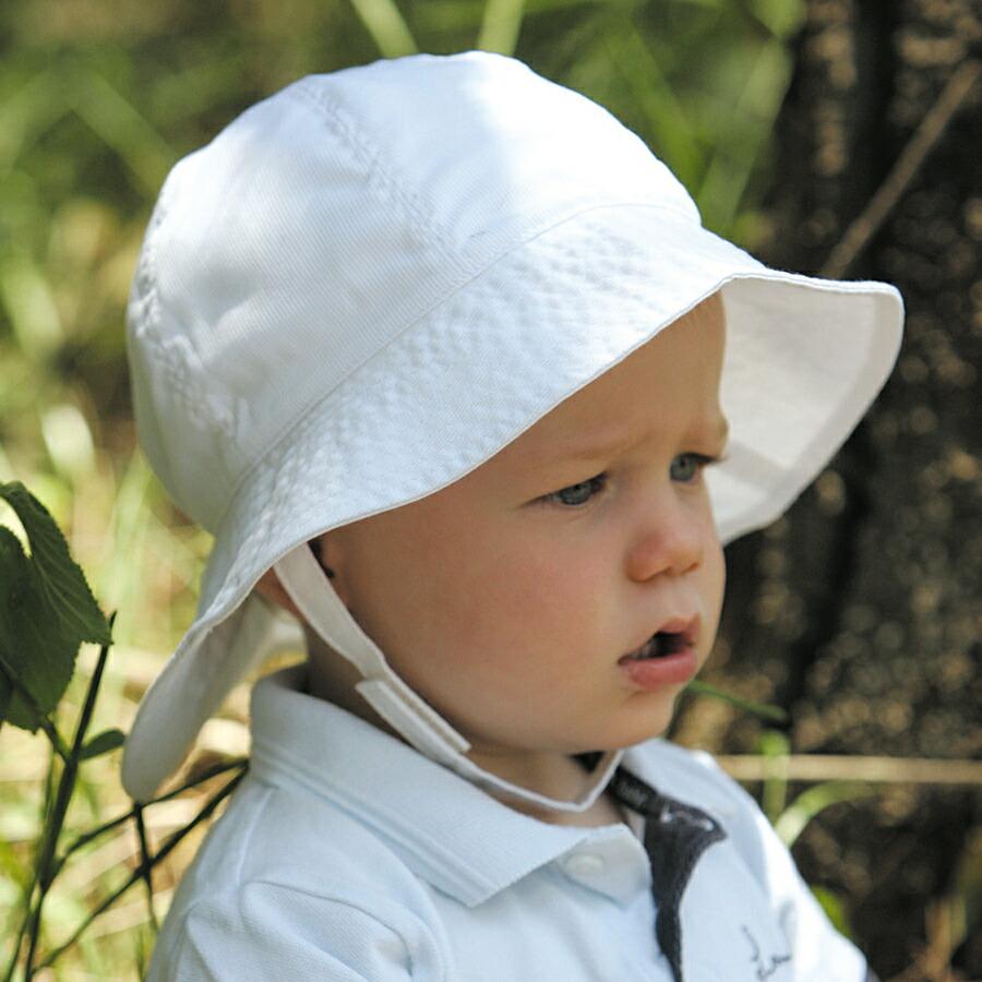 86189347db4523 【個数限定】UVカット 帽子(子供用) - キッズ こども 子供 ハット<BR> - トドラー サウスウェスター 子供 kids<BR>カラー:プレイン  ホワイト<BR>※紫外線カット(UV ...