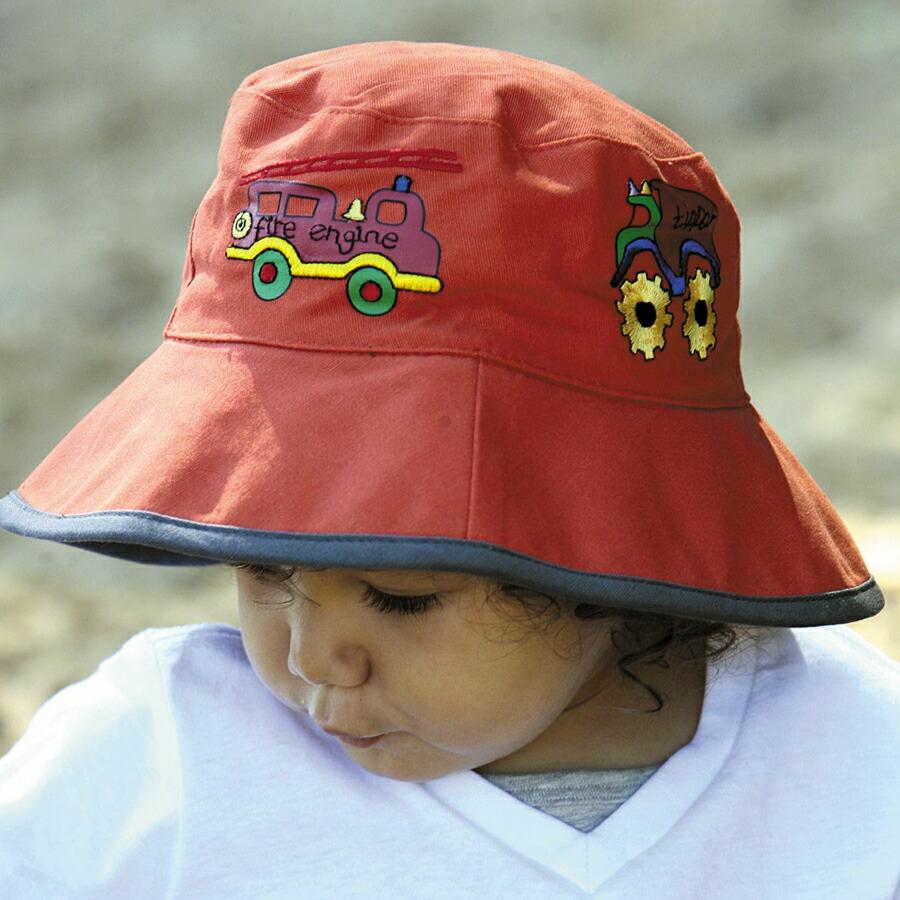 120c61ed0d0b2f UVカット 帽子(子供用) - キッズ KIDS ハット<BR> - ボーイズ バケット ハット 子供 子ども kids <BR>  カラー:消防車/オレンジ<BR>※紫外線カット(UVカット)最高 ...