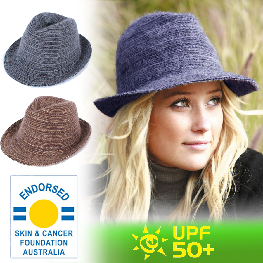 Sunglobe  Sun hat - Ladies hat - Angora Knit Fedora - Grey 031e5a41cf2