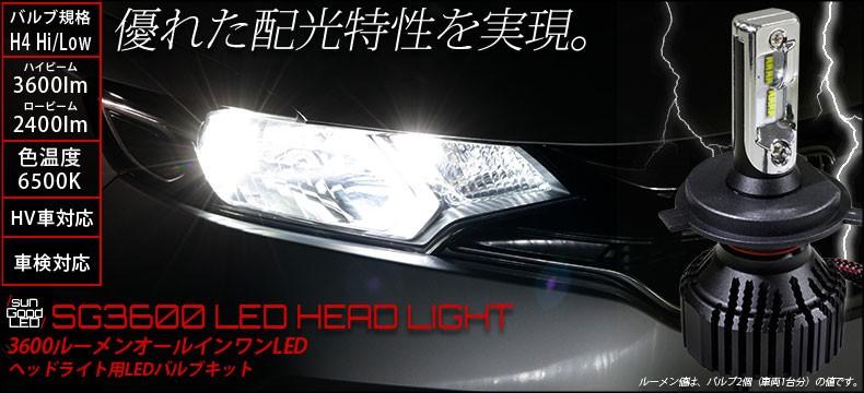 H4 Hi/Low 3600lmヘッドランプ用LEDキット