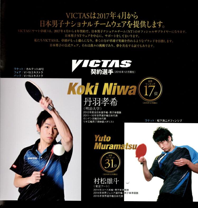 ヴィクタスは2017年4月から日本男子ナショナルチームウェアを提供します