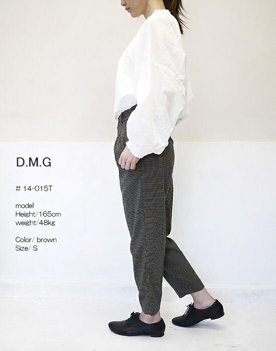 DMG ドミンゴ 14-015T TRチェックストレッチ タックトラウザーパンツ D.M.G
