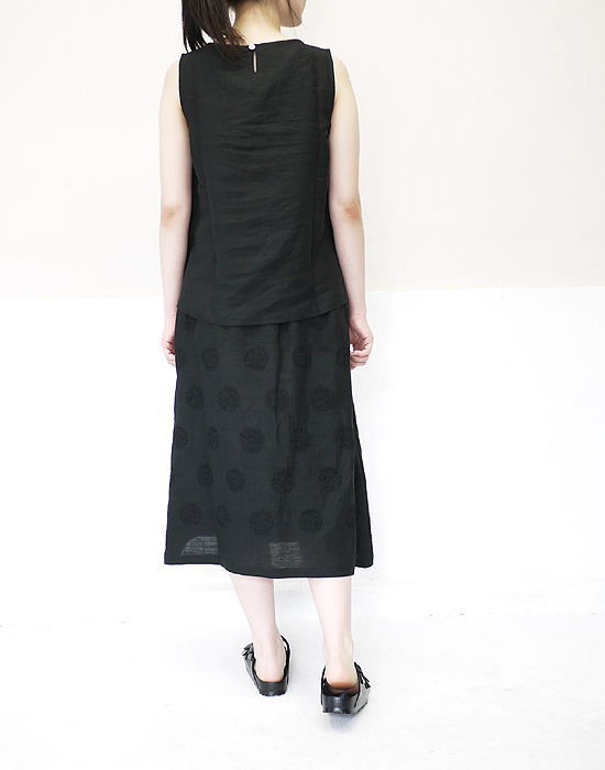 nous rendent heureux 818370 ヌーランドオロー リネン 大柄サークル刺繍 Aラインスカート