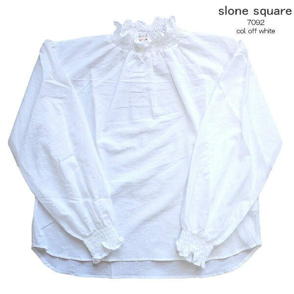 slone square 7092 スロンスクエア 東炊きローン シャーリング スタンドネックブラウス