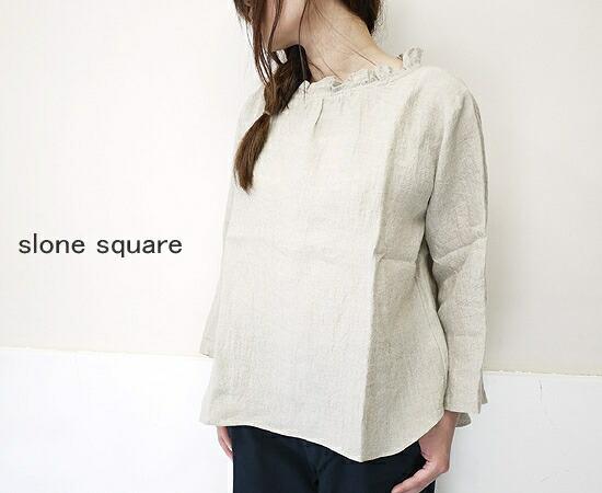 slone square 8029 スロンスクエア フレンチリネン 衿フリル 7分袖 ブラウス