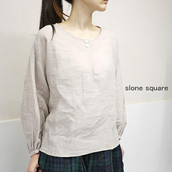 slone square 6076 スロンスクエア 東炊きリネン 前タックボタン付きブラウス