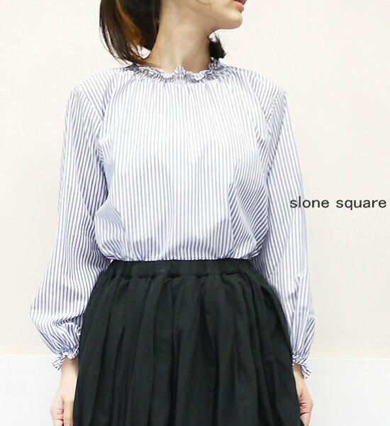 slone square 7049 スロンスクエア ローンストライプ シャーリングフリルブラウス