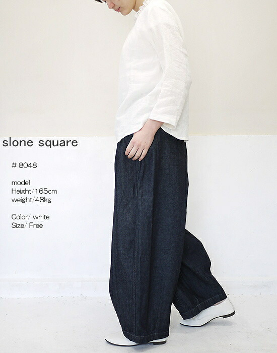 slone square 8048 スロンスクエア フレンチリネン レースフリル ブラウス